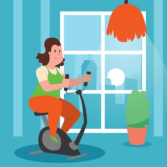 Девушка при полная делая иллюстрация тренировок. женщина тренируется, чтобы похудеть. велотренажер дома. толстая самка сидела на диете, занималась фитнесом.