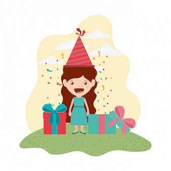 Girl with party hat in birthday celebration