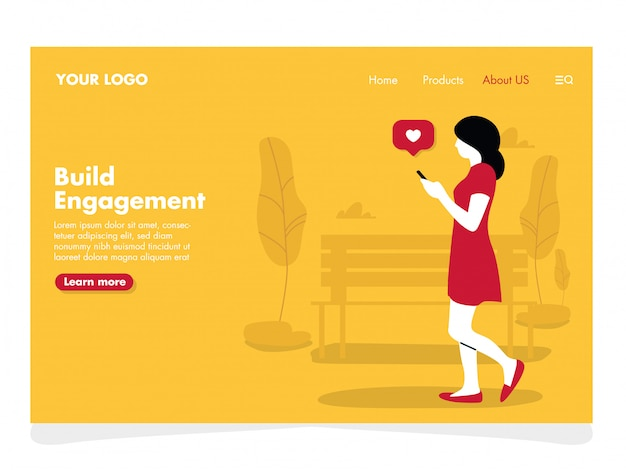 Girl with phone illustration for landing page