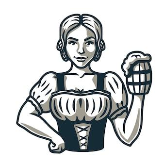 新鮮なビールのロゴのエンブレムバーメニューのパイントを持つ少女