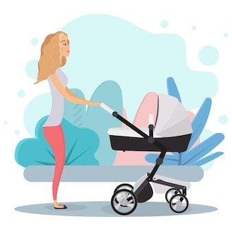 Girl with a pram. mom with a stroller for children. blonde, mom, baby stroller.
