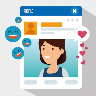 Girl with profile information and social emoji