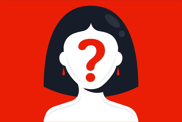 Girl with a question mark on her face on a pink background hide your face flat vector illustration