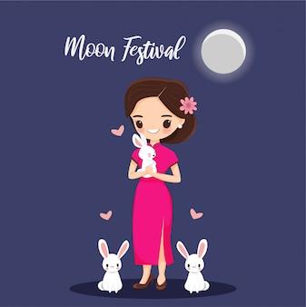 月祭バナーのウサギを持つ少女