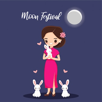 Girl with rabbit for moon festival banner