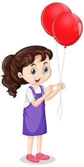 孤立した背景に赤い風船を持つ少女
