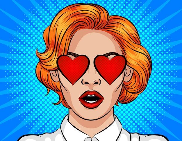 Девушка с рыжими волосами влюблена. открытка ко дню святого валентина
