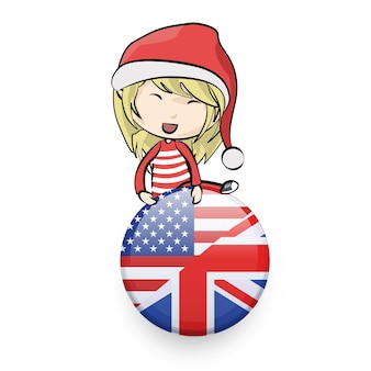 Girl with santa claus costume holding a english pin