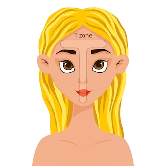Girl with a scheme of the t zone on her face. cartoon style.  illustration.