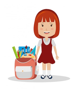 Girl with schoolbag full of supplies
