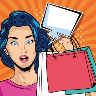 Girl with shopping bags and speech bubble pop art style character