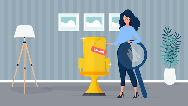 Girl with a shout and a magnifier. the girl is looking for new workers. golden office chair. free place. office. the concept of finding people for work. .