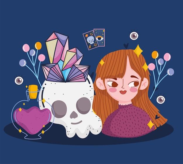 Girl with skull magic quartz