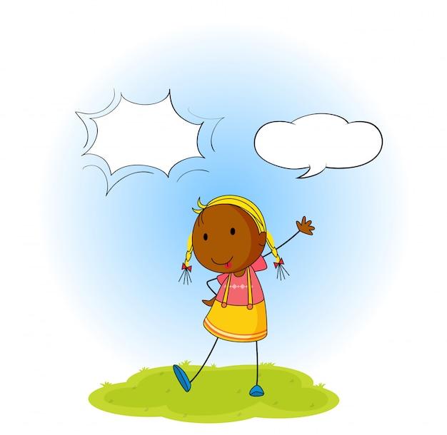 Girl with speech balloon