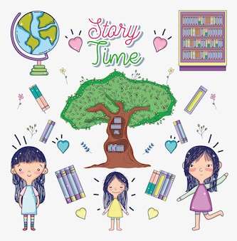 Girl with story times books cartoons