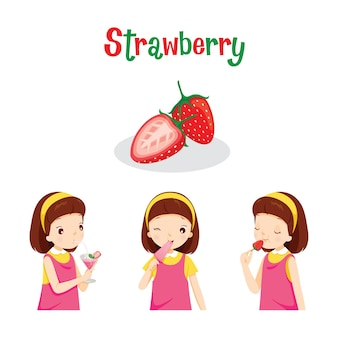 Girl with strawberry fruit, juice, ice cream and letters, tropical fruits, healthy eating