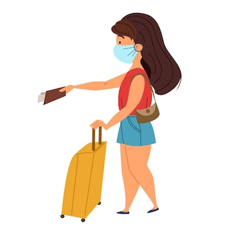 Girl with a suitcase and a mask gives her passport and tickets