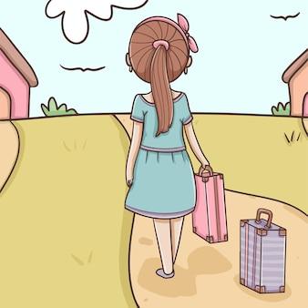 Ragazza con le valigie