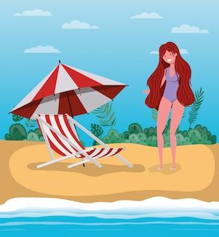 Girl with summer swimwear design