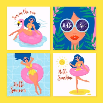 Girl with sunglasses hand drawn summer card collection
