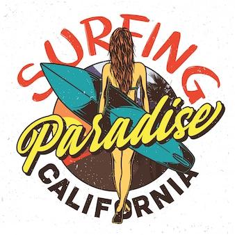 サーフィンボードを持つ少女