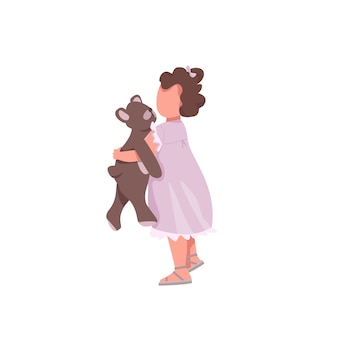 Girl with toy  color  faceless character. little kid hug stuffed bear. cute preschooler. toddler play with doll  cartoon illustration for    and animation
