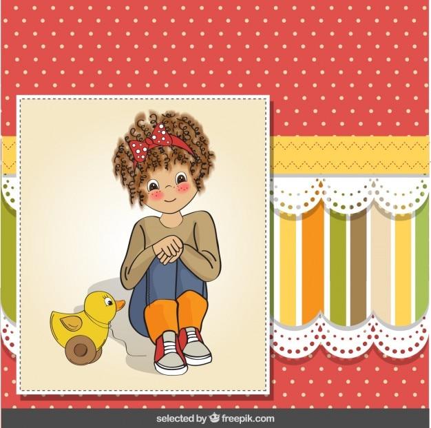 Ragazza con anatra giocattolo su scrapbook sfondo