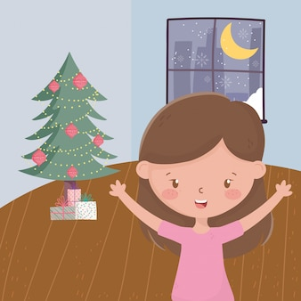 Girl with tree gift boxes living room night window celebration merry christmas