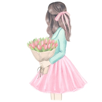 Girl with tulips. hand drawn fashion illustration.