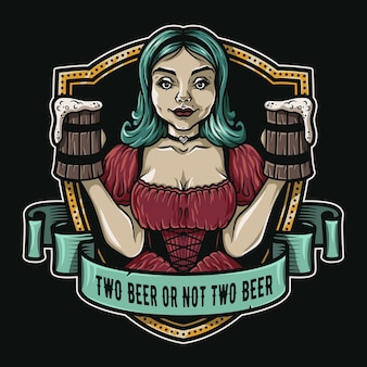 Girl with two pints of fresh beer logo emblem bar menu