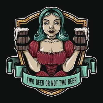 新鮮なビールのロゴのエンブレムバーメニューの2パイントを持つ少女