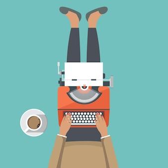 女の子、タイプライター、マシン