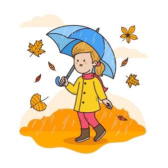 Девушка с зонтиком в осеннем дожде иллюстрации