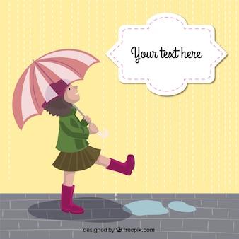 Girl with an umbrella Free Vector