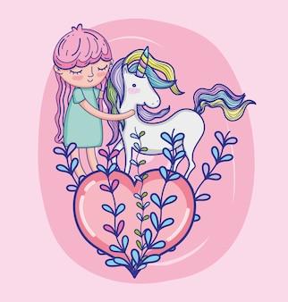 Girl with unicorn cute cartoon