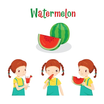 Girl with watermelon fruit, juice, ice cream and letters, tropical fruits, healthy eating