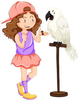 Girl with white parrot pet
