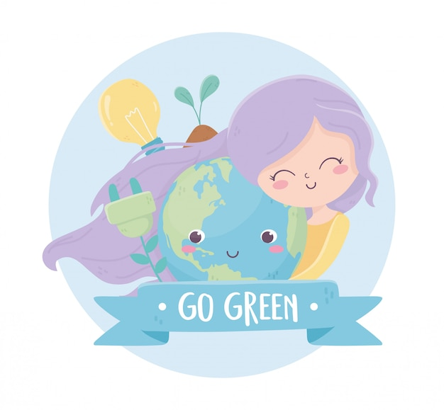 Girl with world bulb plant energy environment ecology