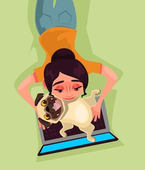 Girl woman character working playing on laptop with dog puppy bug. love animal and modern technology concept.   cartoon