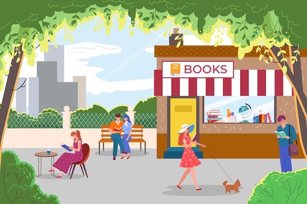 Девушка женщина мужчина молодой мультфильм человек читает на плоской улице