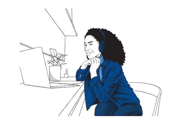 Девушка работает из дома концепции иллюстрации