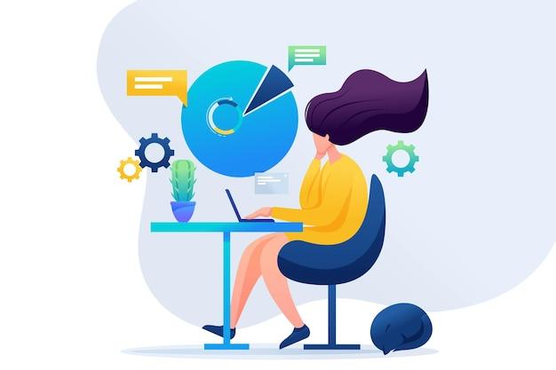 원격 작업에서 일하는 소녀. 집에서 일하세요, 프리랜서. 플랫 2d 캐릭터. 웹 디자인에 대한 개념입니다.