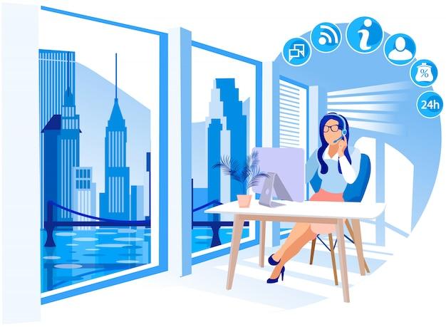 Girl working in call center vector illustration.