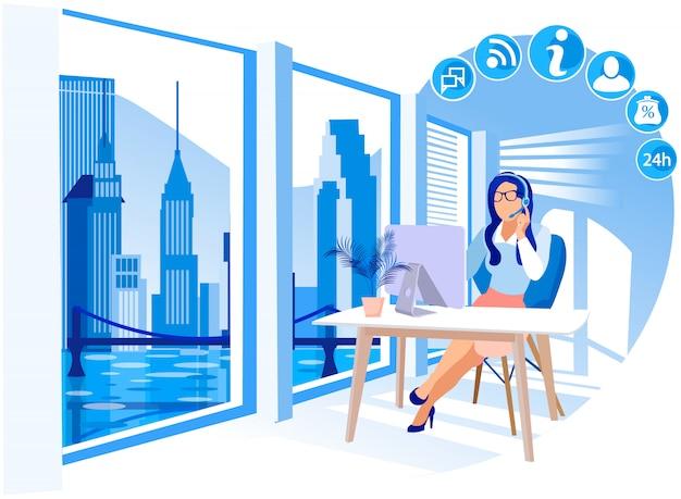 Girl working in call center vector illustration.