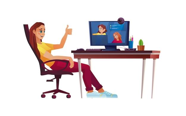 홈 오피스, 학생 또는 컴퓨터 테이블에서 프리랜서에서 일하는 소녀. 회의 또는 교육.