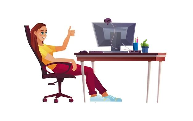 Девушка работает из домашнего офиса, студент или фрилансер, за компьютерным столом, показывает палец вверх.