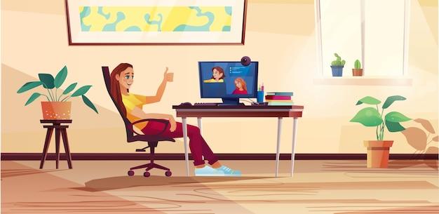 ホームオフィス、学生またはフリーランサーから働く女の子。