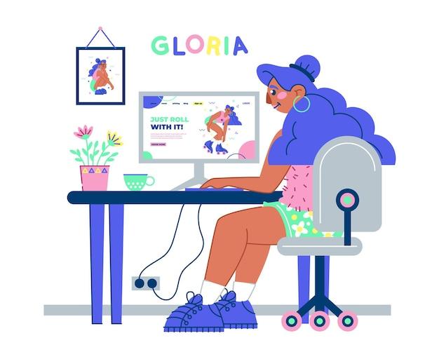 Ragazza che lavora alla sua scrivania con un caffè e un'illustrazione della pianta