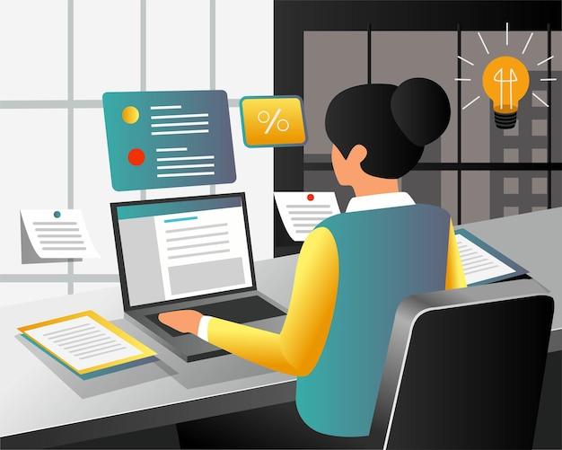 몇 가지 작업으로 노트북으로 사무실에서 일하는 소녀
