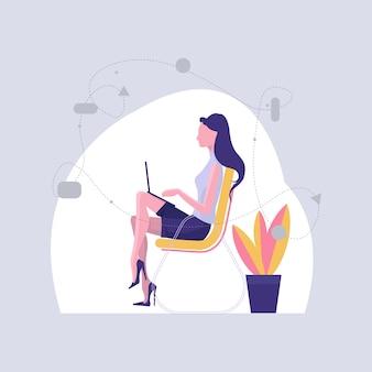 Girl working on laptop illustration.